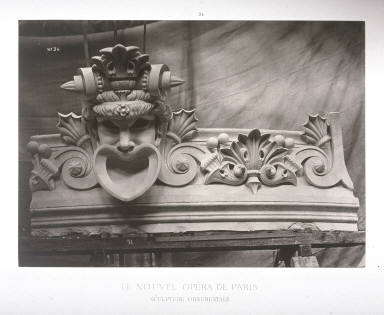 Sculpture ornementale(Ornamental Sculpture), pl. 34 from the book Le nouvel Opéra de Paris (The New Opera of Paris)( Paris: Ducher et Cie., 1875-1881)