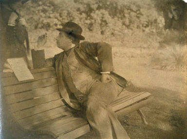 Tissot Seated on a Bench, Kathleen Newton Standing Behind