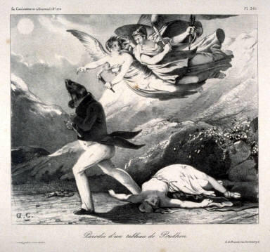 Parodie d'un tableau de Prudon, pl. from Le Caricature #170 (Parody of a painting by Pierre-Paul Prudon (1758-1823) Vengence and Jusitce Pursuing Crime, in the Louvre)