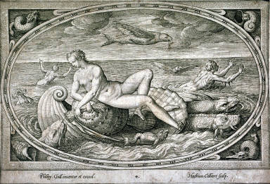 Venus on a large shell in the sea