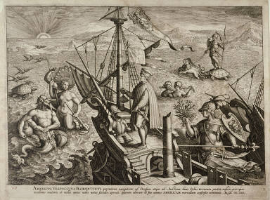 Amerigo Vespucci, standing on a ship approaching the American continent, surrounded by allegorical figures, turtles and birds