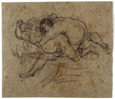 Two Figures Wrestling