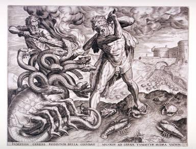 Hercules Killing the Lernean Hydra, pl. 5 from a set of ten Labors of Hercules