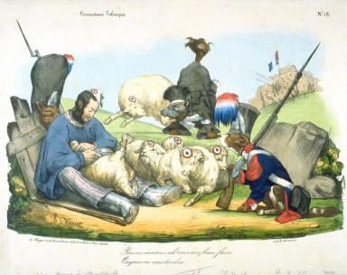 Pauvres moutons ah! vous avez beau faire/ Toujours on vous tondra , pl. 18 from the series Caricatures Politique