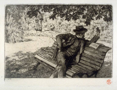 Denoisel, reading in the garden, Renée approaching, published in Renée Mauperin