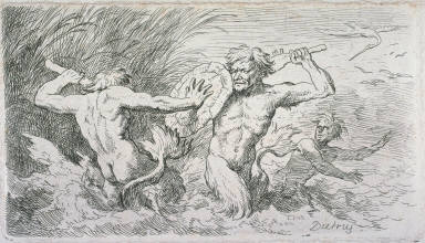 Three studies: Tritons fighting in shallow waters