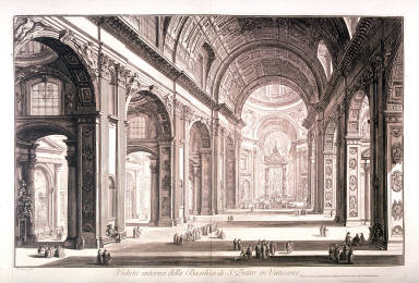 Veduta interna della Basilica di S. Pietro in Vaticano (Interior view of the Basilica of S. Peter in the Vatican) from Vedute di Roma (Views of Rome)