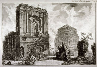 Veduta del sepolcro di Pisone Liciniano su l'antica via Appia (View of the tomb of Pisone Liciniano on the ancient via Appia) from Vedute di Roma (Views of Rome)