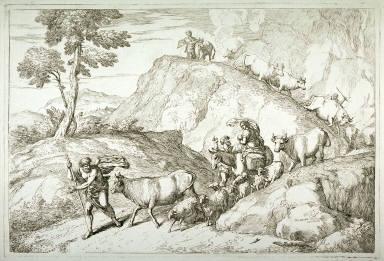 The Flight into Egypt, after Castiglione