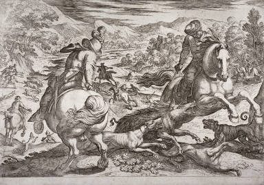 A Boar Hunt, pl. 3 from the series Hunting Scenes VI