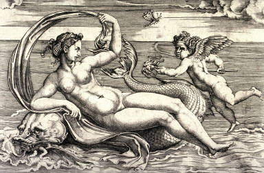 Venus Reclining on a Dolphin, after Raphael