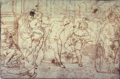 Recto:Flagellation of Christv: Study for a Flagellation