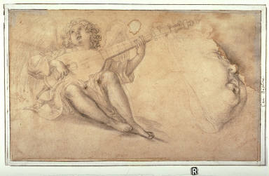 Recto: Angel Playing a Lute and Profile of a Childs FaceVerso: Angel Playing a Lyre