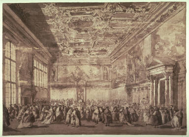 The Doge of Venice Receiving Ambassadors in the Sala dei Collegio, after the painting by Francesco Guardi in the Louvre