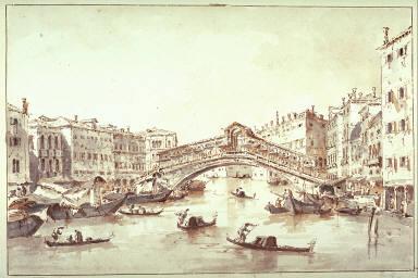 The Grand Canal,Venice at the Rialto Bridge