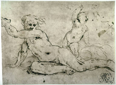 Reclining Male Nude and Two Putti, a study for one of the frescoes of Ignudi(Nude figures) in the vault of the loggia of the Castello del Buonconsiglio, Trento