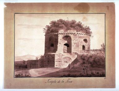 Temple de La Toux, study for plate 21 of the book Giornate pittoresche degli edifizi antiche de circondari di Roma ( Rome: 1800-1814)