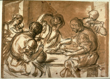 Recto:Macaroni EatersVerso:Two Figures at a Table