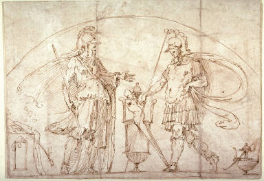Two Warriors, possibly a design for a lunette in the library of the Castel Sant Angelo, Rome