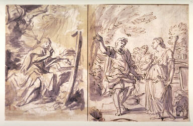 Sheet of Sketches: Recto: Angel and a Saint; Jacob and Sarah at the Well Verso: Two Portraits; Virgin and Child with Infant St. John