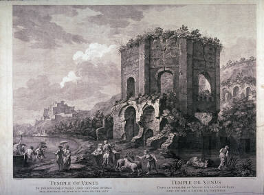 Temple of Venus, pl. 4 from the series Views of Antique Buildings and Famous Ruins in Italy, after C. Clérisseau