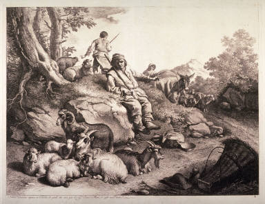 A Shepherd with his Flock, from a series of Seventy etchings of Animals and Peasants