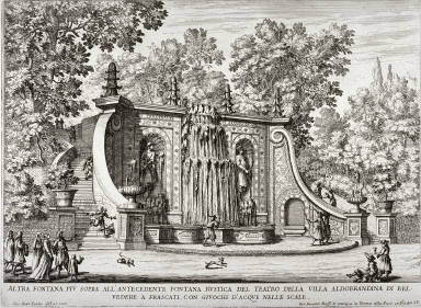 The Fountain Above the Rustic Fountain at the Villa Aldobrandini, plate 10 from the series Le fontane delle ville di Frascati...(The fountains of the villas of Frascati...)