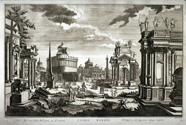 Campo Marzio, after a 1740 engraving by Andrea Pfeffel after Guiseppe Galli Bibiena, from the series Architetture e prospettive