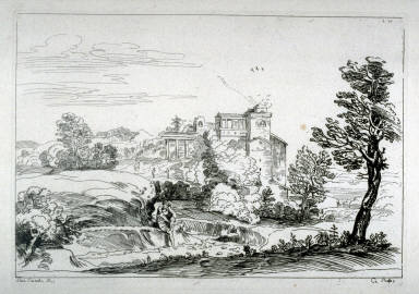 (Untitled) Landscape with man sitting on bank