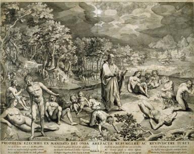 Propheta Ezechiel ex Mandato dei Ossa Arefacta Resurgere ac Reviviscere Tubet ( The Resurrection of Dry Bones), Ezekiel 37:1, from a group of Biblical illustrations printed by C. J. Visscher