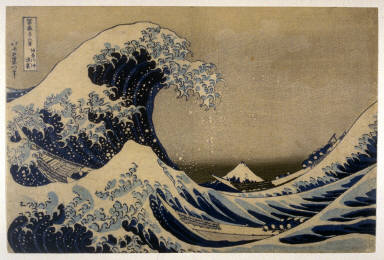 Cresting Wave Off the Coast of Kanagawa [The Great Wave]( Kanagawa oki uranami ), from the series Thirty-six Views of Mt. Fuji (Fugaku sanjurokkei)