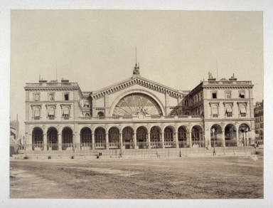 #38 Station? (Statue of Strasbourg on top) from 11 albumen prints from Vues de Paris en Photographie, 1858