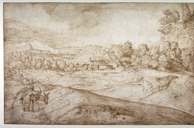 Hilly Landscape with Woman and Donkey