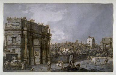 Recto: View of the Arch of Constantine and Environs, RomeVerso: Architectural Sketch
