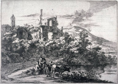 The two cows near the River, Tivoli; From: Landscapes of the Environs of Rome