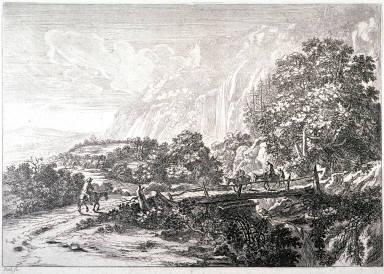 The wooden bridge, Sulmona near Tivoli; From: Landscapes of the Environs of Rome