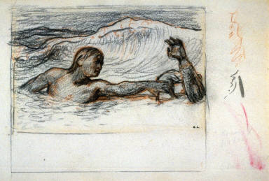 The Rescue (Tennyson study for wood engraving for plate opp. p.6, publ. 1864)