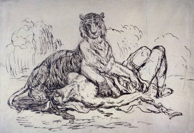 Lioness Devouring a Man( late 19th century copy)