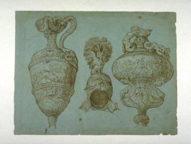 Decorative Drawings (Pitcher, Helmet, Vase)
