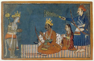 Hanuman's Audience with Rama from an illustrated manuscript of the Ramayana