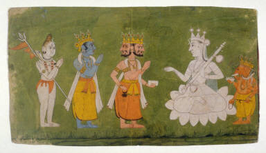 Shiva, Vishnu, and Brahma Pay Homage to the Great Goddess Accompanied by Ganesha