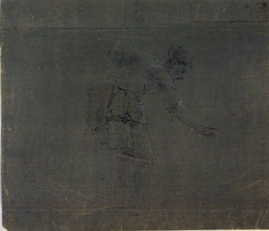 Study of standing female figure: a woman fishing