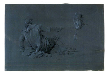 Study of Seated Male Figure, viewed from the rear