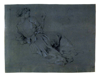 Study of a Female Figure viewed from rear, seated, leaning on her left arm