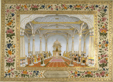 The Royal Chamber in the Public Audience Hall in the Middle of Yazdah Darreh, with the Ruler, Alam Bahador Badshah, and the Great Commanders, a page from the Lady Coote Album