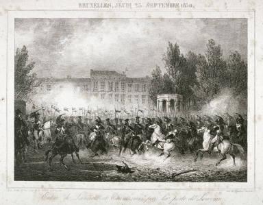 One of four scenes of 1830 revolution in Brussels: Entrée de Lanciers et Cuirassiers par la porte de Louvain