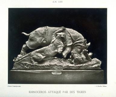 Rhinocéros Attaqué par des Tigres by A.N. Cain