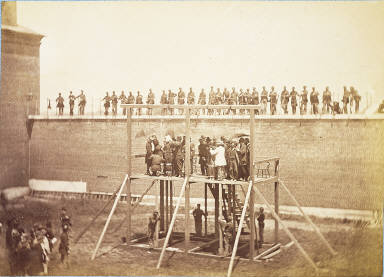 Execution of Lincoln Assassination Conspirators. Adjusting the