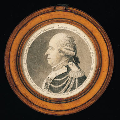 A.J.A. Ruihiere Chef de la division de Cavalerie de la garde Nationale Parisienne né l 6 janvier 1731. dess. p. Fouquet.gr.p. Chret ien inv. du physionotrace Cloitre 3d honoré à Paris.