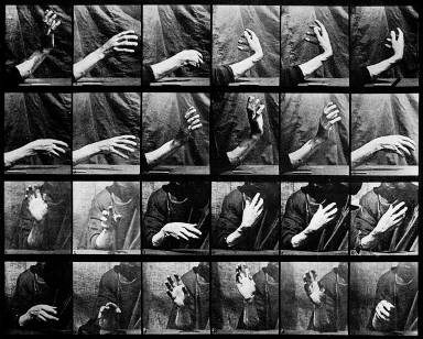Movement of the hand; beating time